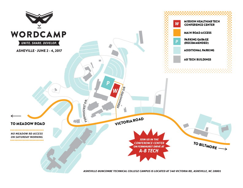 Map of WordCamp Asheville at AB Tech